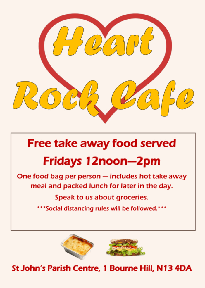 poster or flyer advertising event Heart Rock Café: Free take-away food