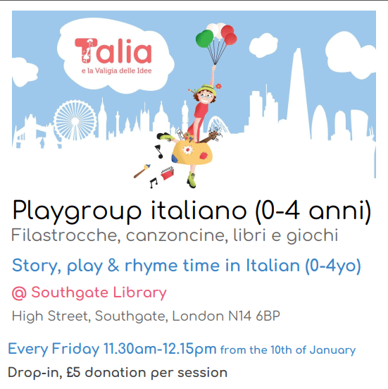poster or flyer advertising event Playgroup italiano (0-4 anni)