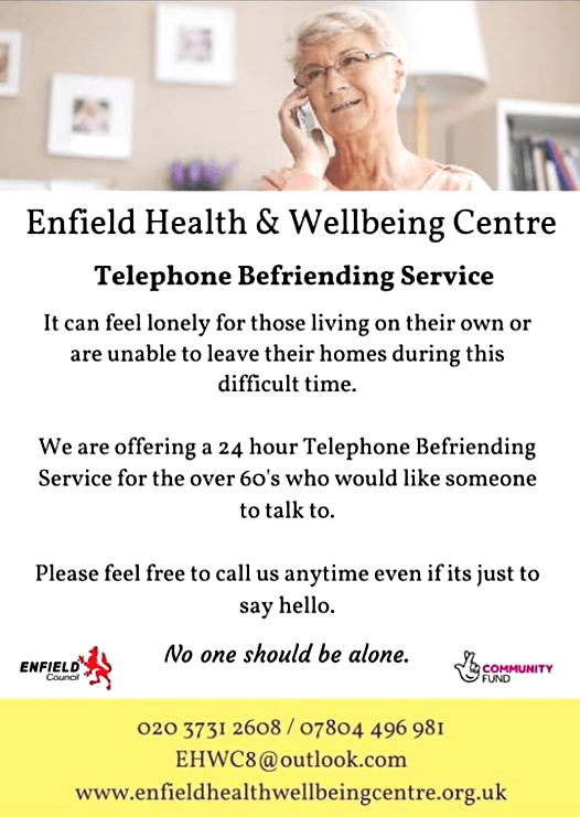 Telephone befriending service for the over-60s