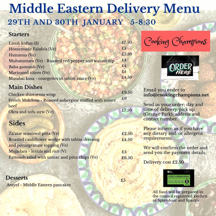 Get a home-delivered mid-eastern menu and help local community food projects