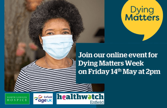 poster or flyer advertising event Online event: Dying matters