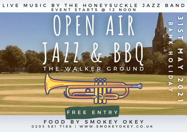 poster or flyer advertising event Open-air Jazz & BBQ @ the Walker Ground