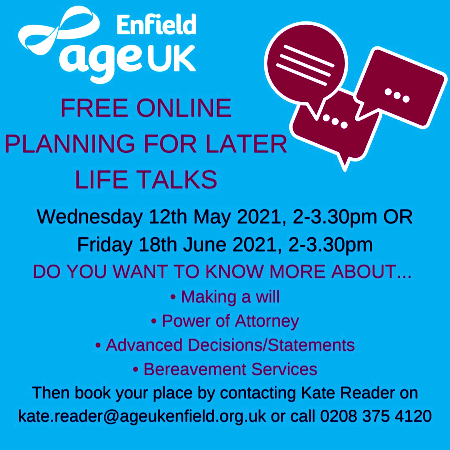 poster or flyer advertising event Free online talk: Planning for later life