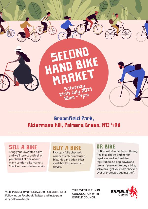 poster or flyer advertising event Second-hand bike market + Dr Bike