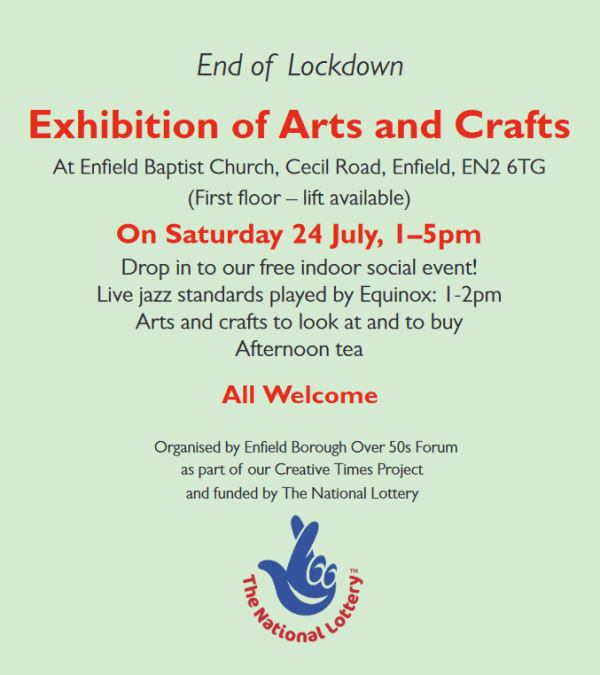 poster or flyer advertising event End of Lockdown Exhibition of Arts and Crafts