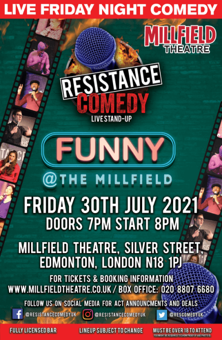 poster or flyer advertising event Resistance Comedy - live stand-up