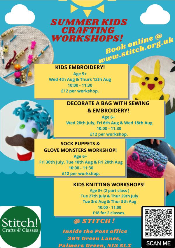 poster or flyer advertising event Summer kids\' crafting workshops