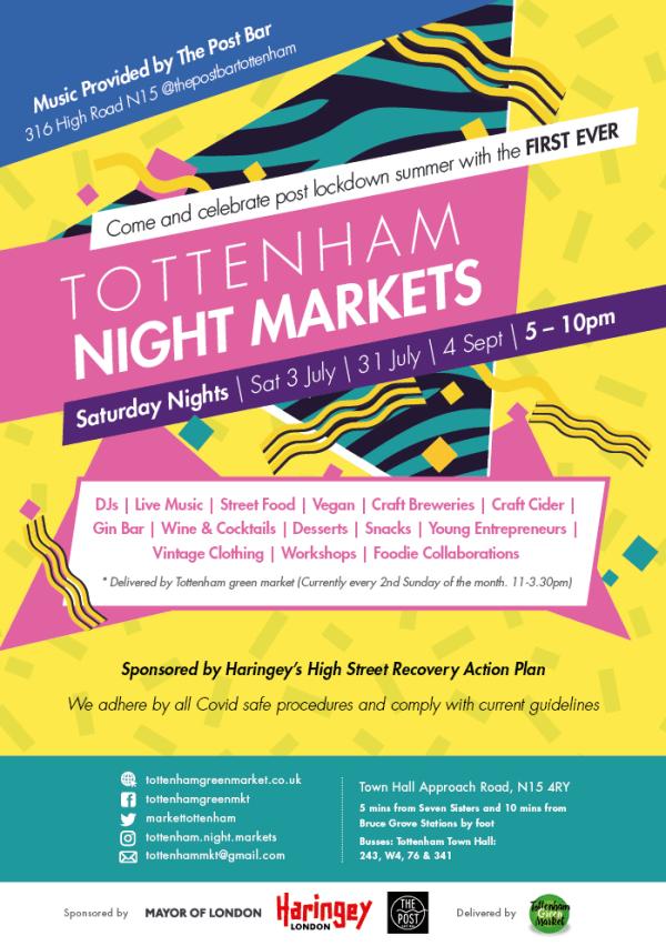 poster or flyer advertising event Tottenham Night Market (date change)