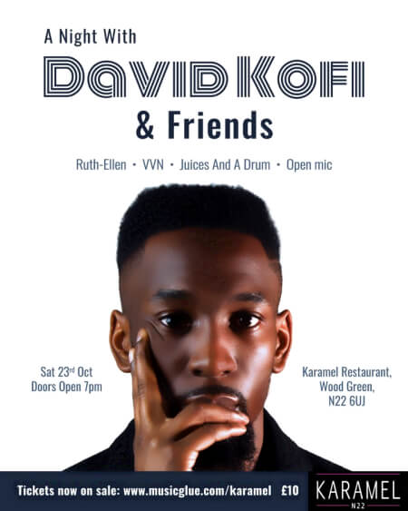 poster or flyer advertising event Live music: A night with David Kofi and Friends