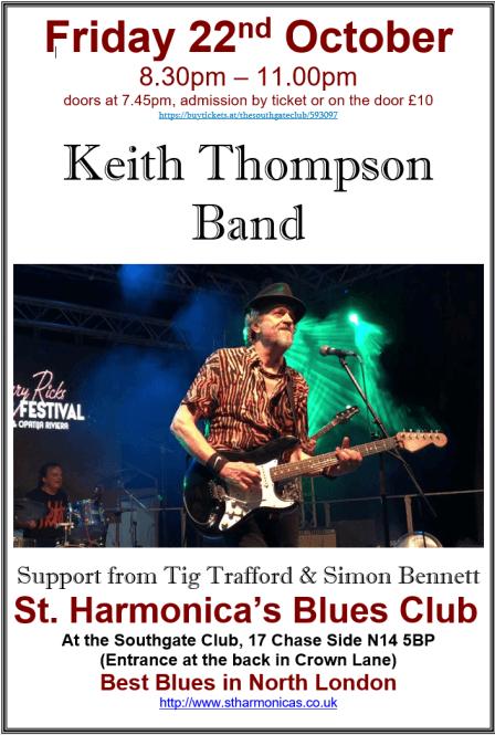 poster or flyer advertising event St Harmonica\'s Blues Club: Keith Thompson Band  + Tig Trafford & Simon Bennett