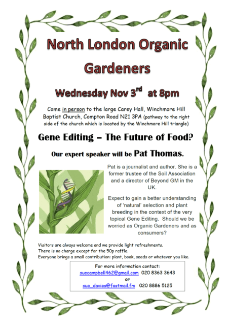 poster or flyer advertising event North London Organic Gardeners: Gene Editing - The Future of Food?