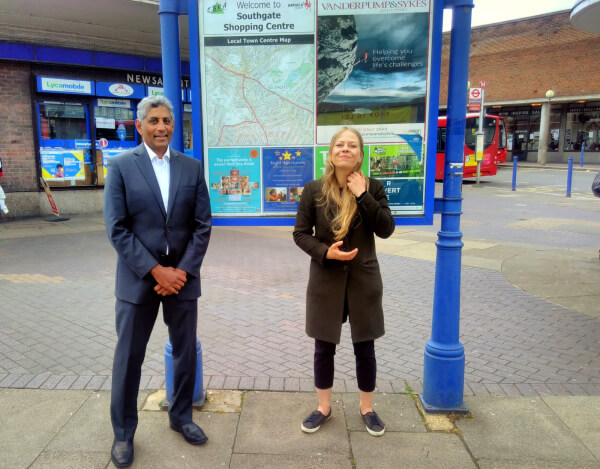 Councillor Gunarwardena is welcomed into the Green Party by co-leader Sian Berry at Southgate Station