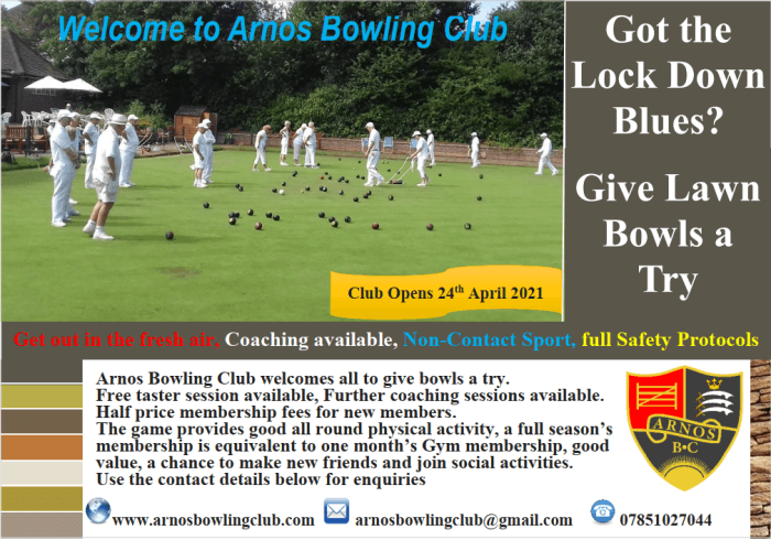 poster or flyer advertising event Open Day at Arnos Bowling Club