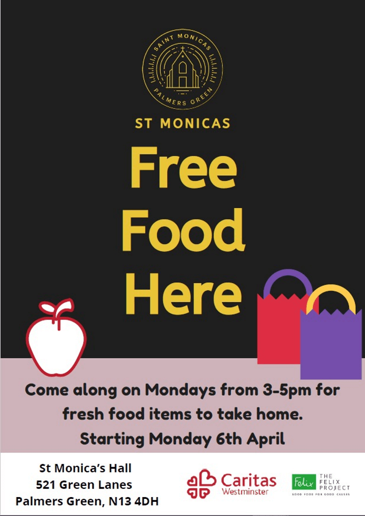 poster or flyer advertising event Free food at St Monica\'s