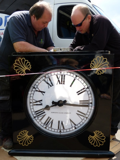 clock1 before installation at Palmers Green Triangle