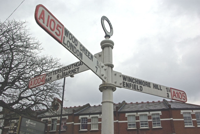 Signpost at Palmers Green Triangle - photo by Stephen McKay