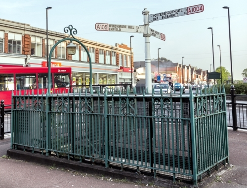 Former toilet railings in Palmers Green Triangle