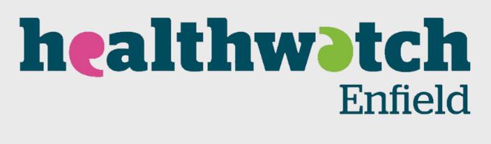 healthwatch enfield logo on light blue background