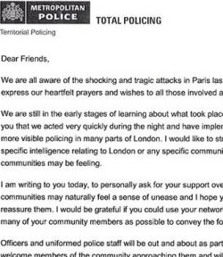 paris attacks letter from metropolitan police small