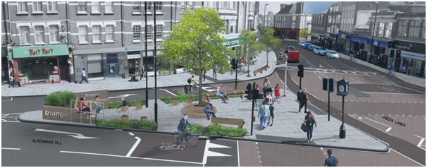Palmers Green Triangle after projected Cycle Enfield works